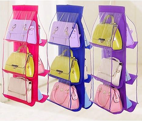 Ogquaton 1 UNIDS Pr/áctico 6 Bolsillos Colgando Bolsas de Almacenamiento Rack Bolso Monedero Bolsas de Almacenamiento Organizador del Armario para el Uso del Dormitorio Transparente