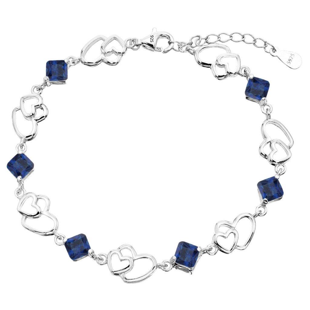 EleQueen 925 Sterling Silver CZ Love Open Double Heart Bracelet Chain, 6.9+1.2 Extender 6.9+1.2 Extender 16000937ca