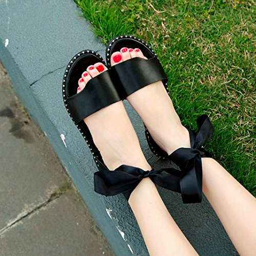 Muium Women Fashion Sandals, Ladies Bow Tie Flat Heel Sandals Anti Skidding Lace-up Casual Slippers Black