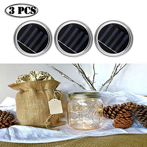 3 Pcs Solar Mason Jar Lids Mason Jar String Fairy Lights Lids for Garden Deck Patio Weeding Holiday Decor by Feiuruhf(Jar not Included) (Warm white)