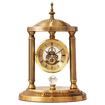 FOOFAY relojes de chimenea familiares Reloj de mesa retro americano Relojes decorativos de escritorio silencioso con engranaje mecánico para sala de estar ...
