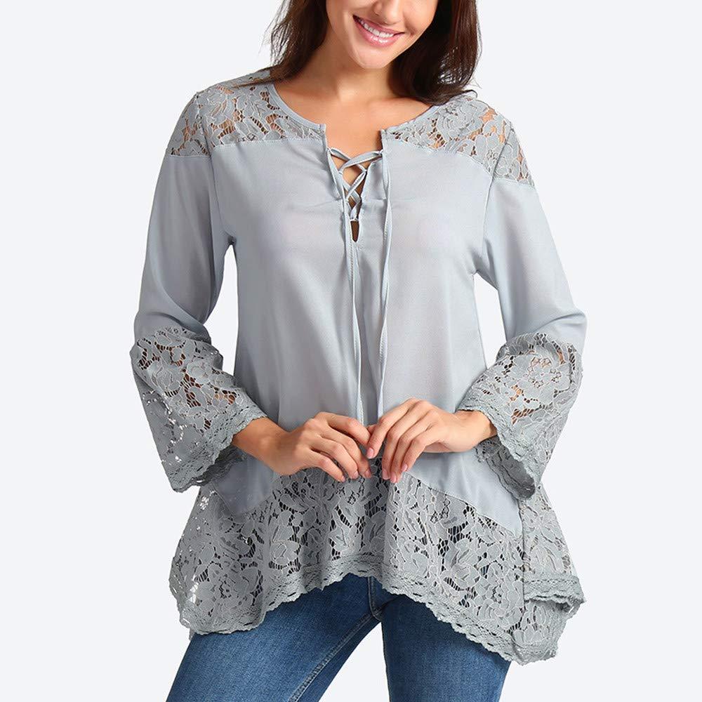 Blusas Mujer Tallas Grandes de Vestir Primavera 2019 BBsmile Mujer Suelto Tres Cuartos Camisetas con Cuello en v Blusa de Encaje Camisa Mujer Negra Encaje: ...