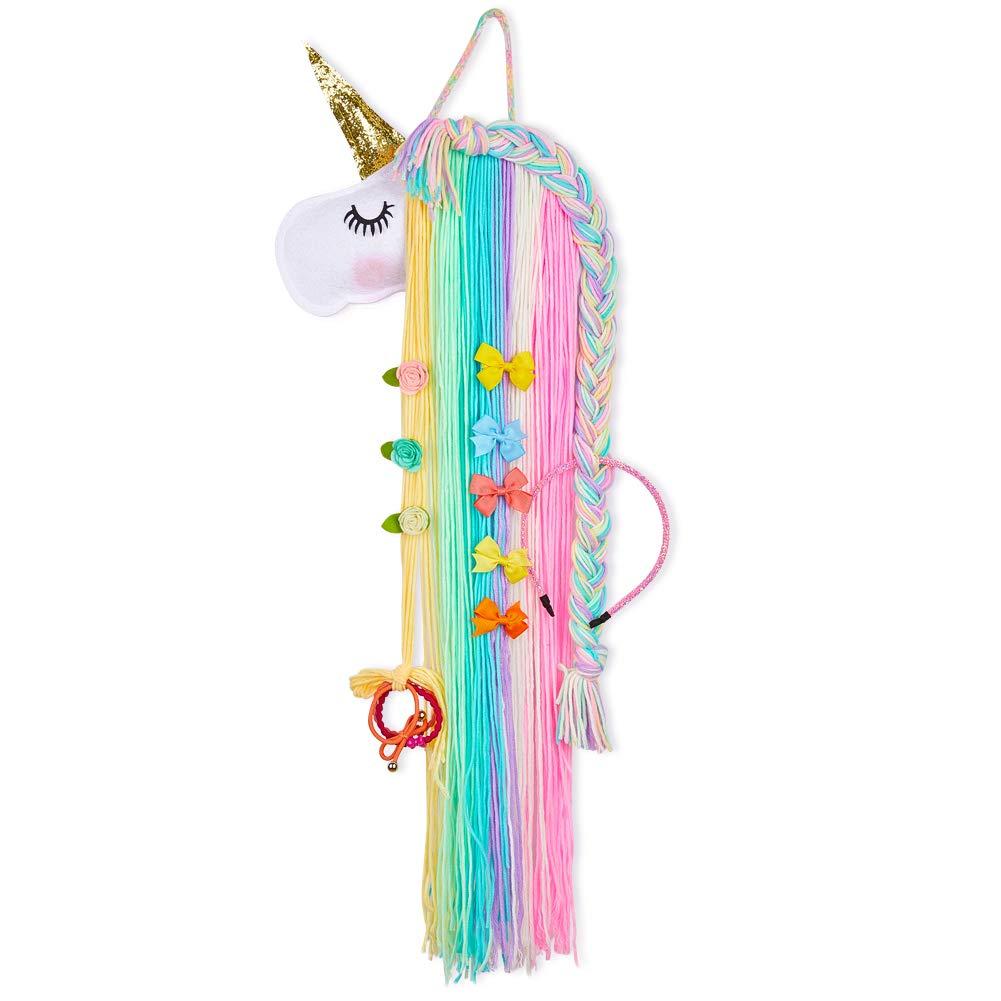 FIOBEE Unicorn Hair Bow Holder for Girls, Hair Clips Headband Organizer Storage Unicorn Wall Hanging Home Decor for Girls Room