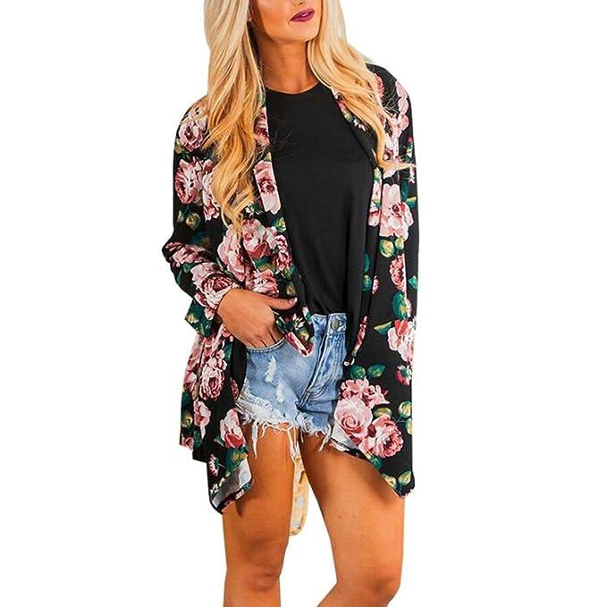 DEELIN Las Mujeres De Moda Bohemia Estampado Floral Chal Kimono Cardigan Tops Blusa Larga Negro (