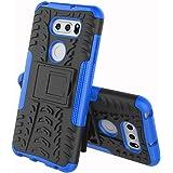 LG V30+ L-01K / JOJO L-02K / isai V30+ LGV35 ケース LG V35 ケース LG V30+ カバー ソフトバンクソニー【Cavor】tpu+pcアーマーハイブリッド三重構造バックホルスターに耐震性のバンパーケーススタンド機能携帯カバー【選択可能な8色】ブルー