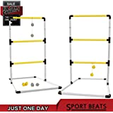 SPORT BEATS Premium Indoor / Outdoor Ladder Ball Toss Game Set with 6 Rubber Bolos, Carrying Case and Score For Family Fun