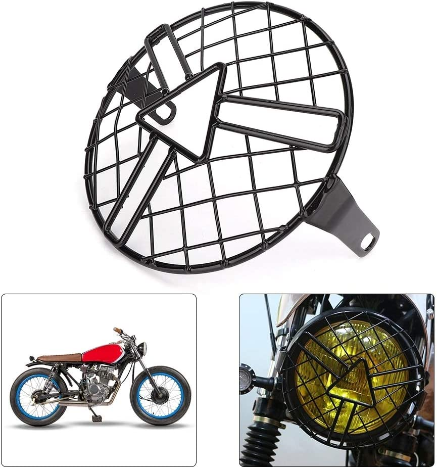 HGY Grille de Phare Moto,Garde-phares de Moto Grille Grill Headlamp Cover Protector Fit Compatible avec CG125 GN125