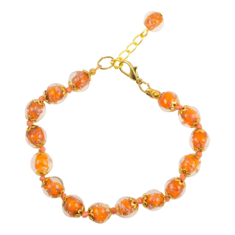 Genuine Venice Murano Sommerso Aventurina Glass Bead Strand Bracelet in Orange, 8+1'' Extender
