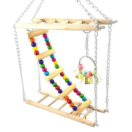 Demino Pet Hamaca de suspensión escaleras Colorido para pájaros ...