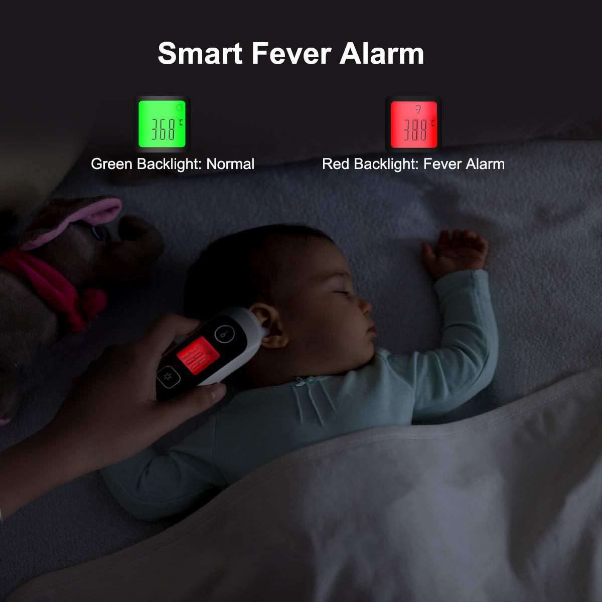 Termómetro Digital Infrarrojo, Medición Precisa de Frente y de Oído apto para bebé, niños, adultos, Multifunción 4 en 1 para comida, ambiente con ...