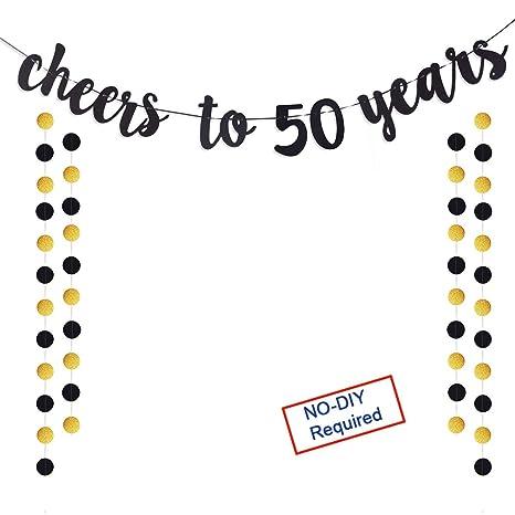 Amazon.com: Cartel con purpurina dorada de 50 años para ...