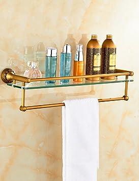 Baldas de baño Estantes de latón de vidrio Estantes de baño antiguos Barra de toallas de