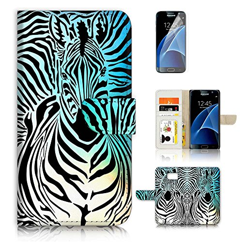 - ( For Samsung S7 , Galaxy S7 ) Flip Wallet Case Cover & Screen Protector Bundle - A20124 Abstract Zebra