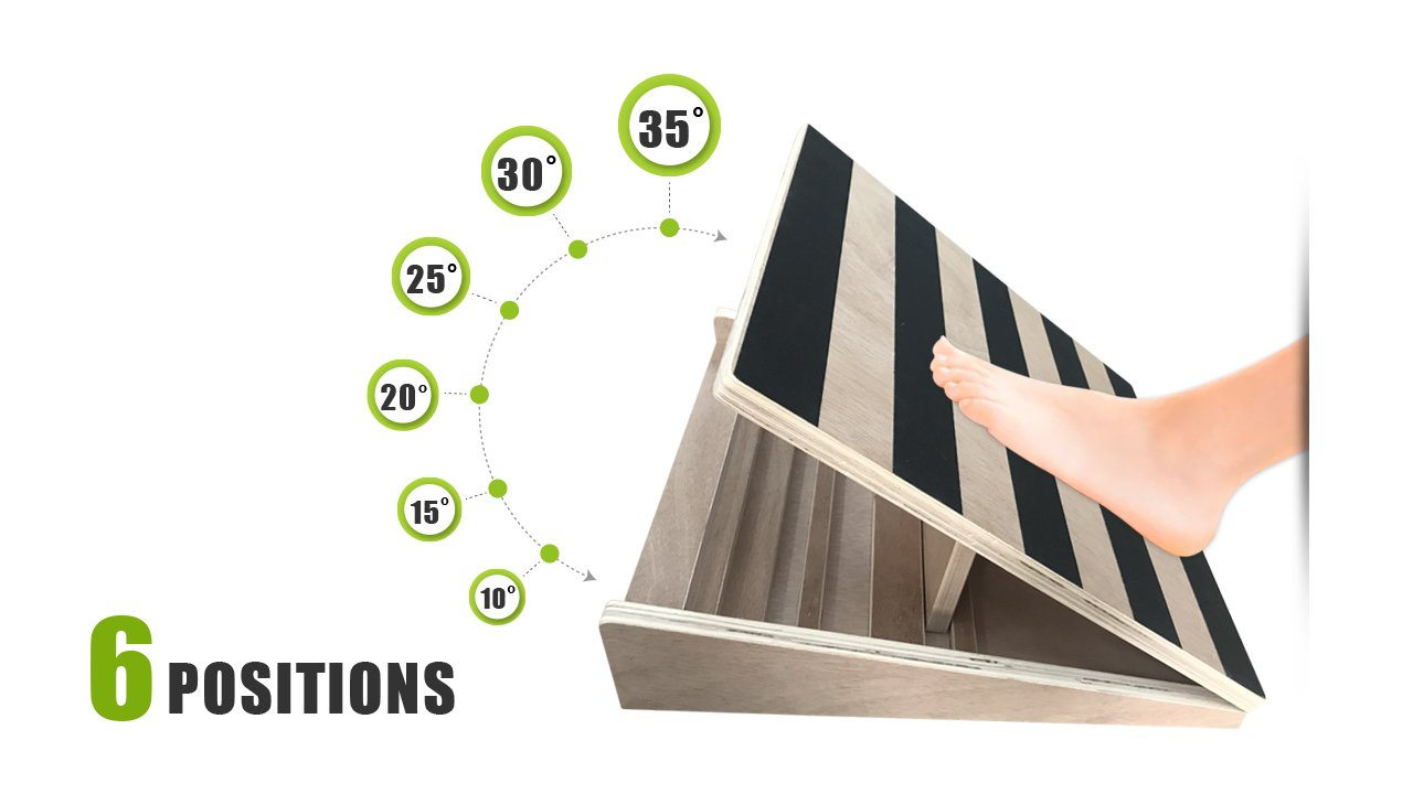 当季大流行 GSMブランド木製傾斜ボード – プロフェッショナル調整可能なInclineふくらはぎストレッチャーaidesバランス(18 –