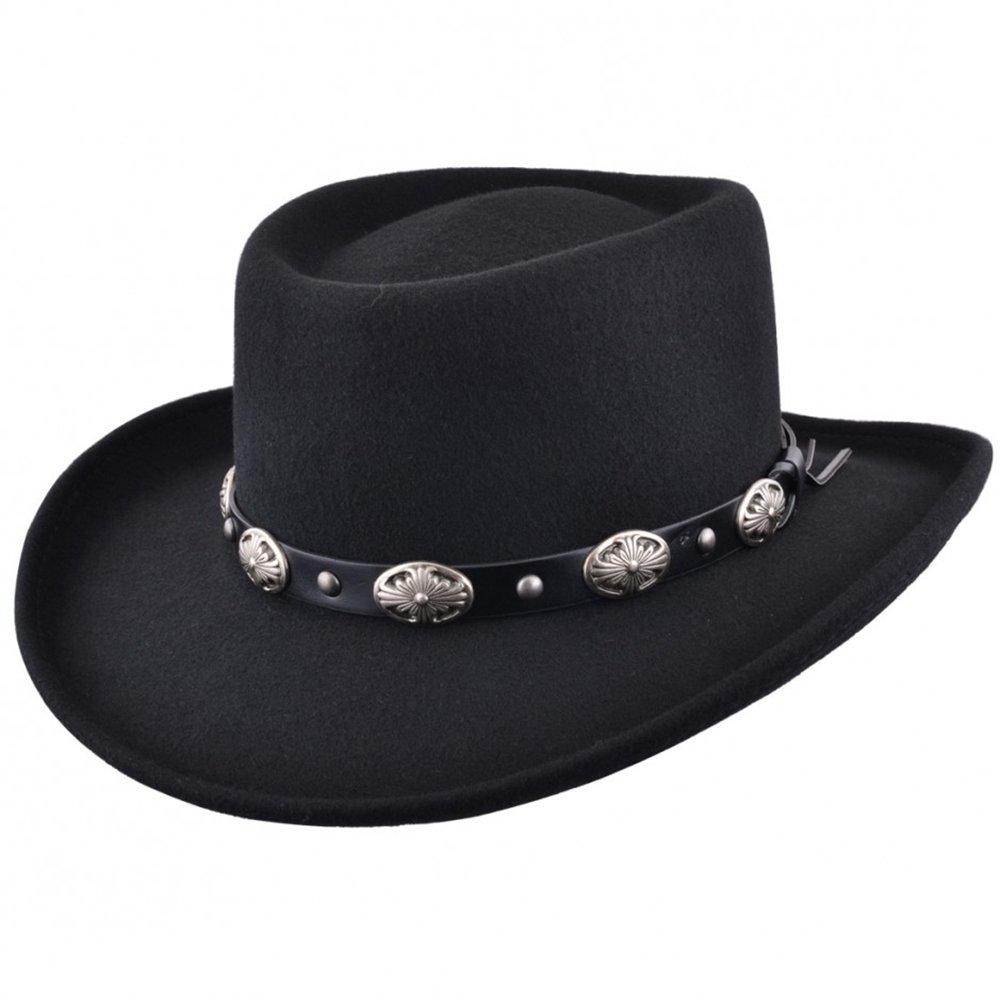 MAZ Crushable Wool Felt Gambler Cowboy Hat with Buckle Band - Black
