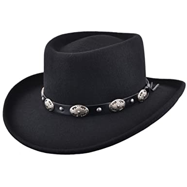 Maz Crushable Wool Felt Gambler Cowboy Hat with Buckle Band - Black (Small  - 55cm a339b8e87c4a