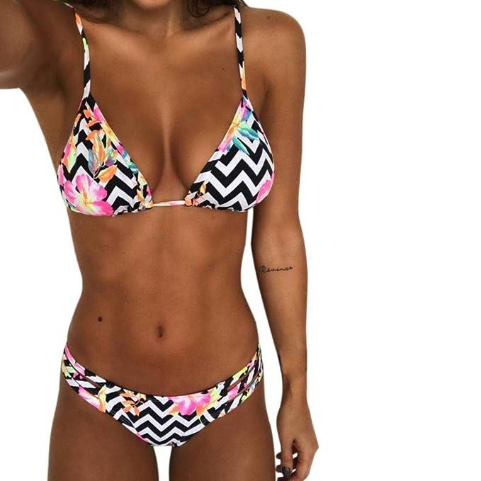 Da Donna Bikini Set Push-Up Imbottito Spiaggia Costumi Da Bagno A Righe Da Bagno Costume Da Bagno