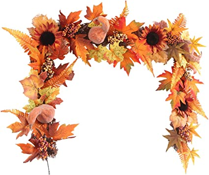 2//3M LED Lighted Fall Autumn Pumpkin Maple Leaves Garland Party Home Xmas Decor