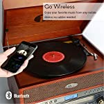 1byone Nostalgic Wooden Turntable Wireless Vinyl Record Player with AM, FM, CD, MP3 Recording to USB, AUX Input for… 8