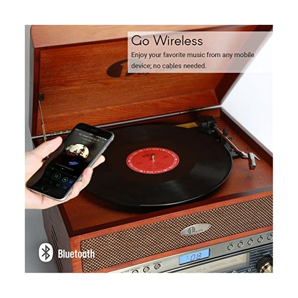 1byone Nostalgic Wooden Turntable Wireless Vinyl Record Player with AM, FM, CD, MP3 Recording to USB, AUX Input for… 5