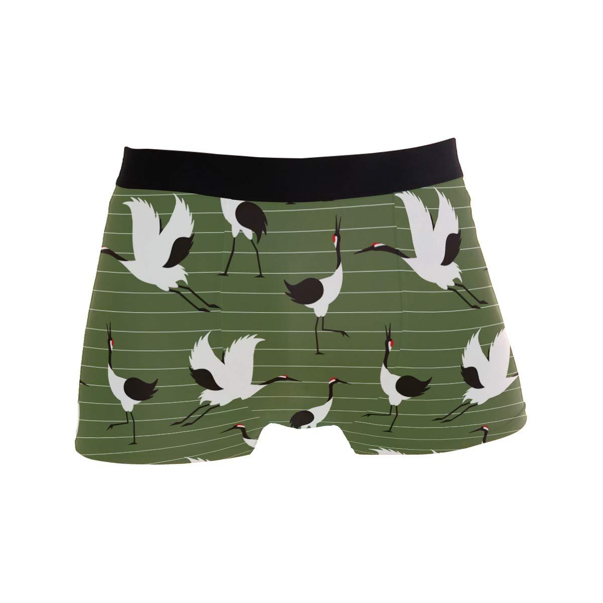 Crane Pattern Green Mens Underwear Soft Polyester Boxer Brief for Men Adult Teen Children Kids S