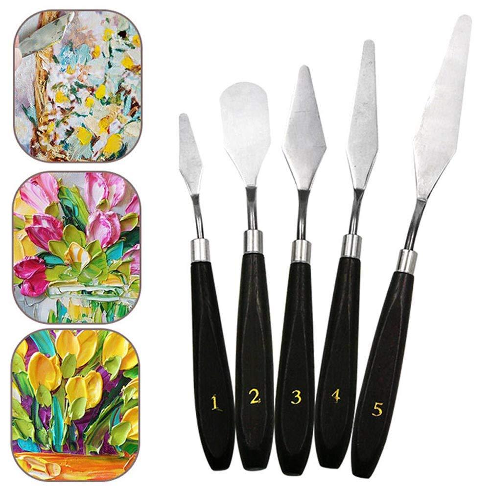 Starall 5 St/ücke Mixed Edelstahl Palette Scraper Spachtel Set f/ür K/ünstler /Ölgem/älde Werkzeuge Kit