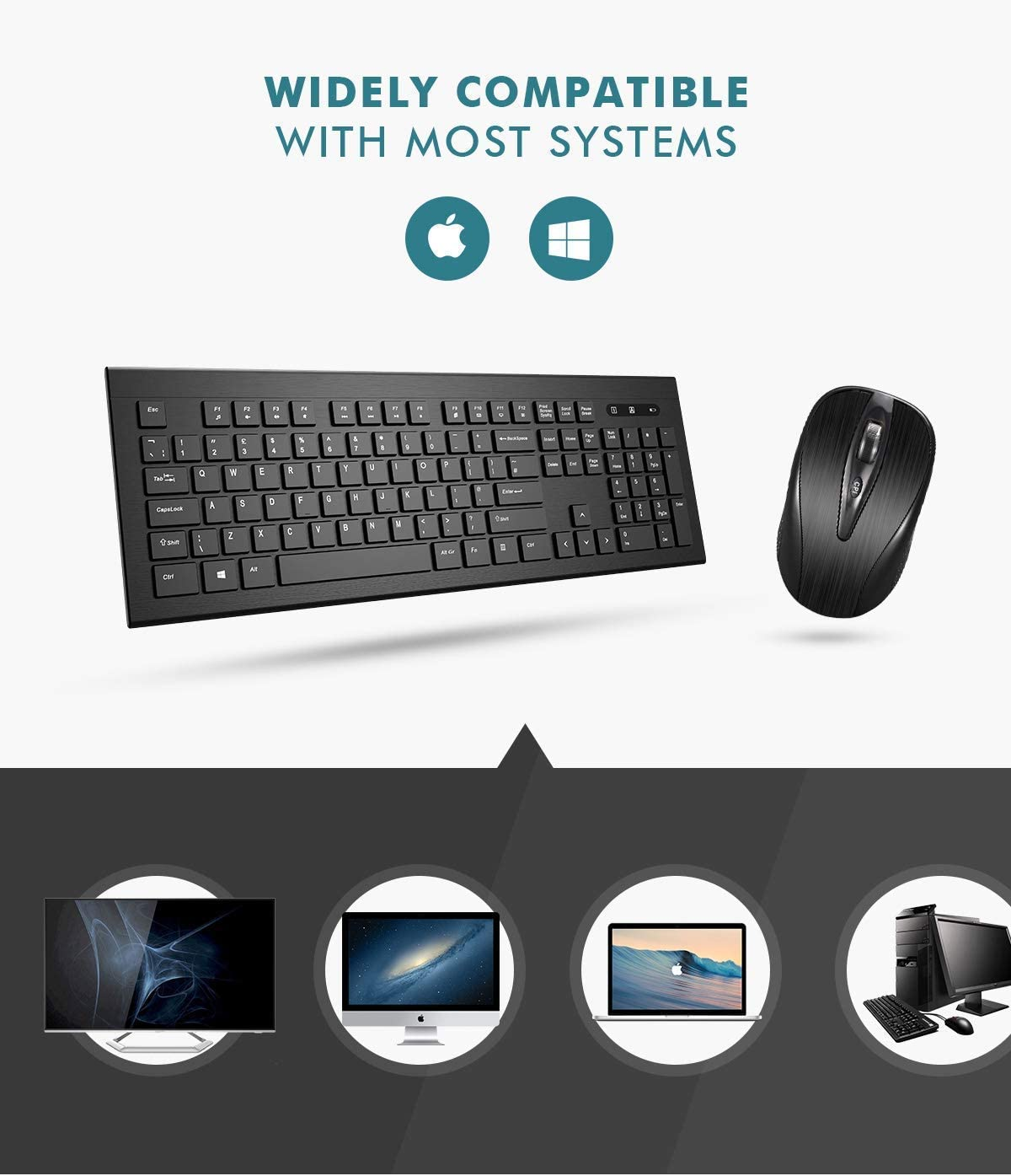 Black 2.4GHz 26ft Wireless Connection with USB Receiver for PC Desktop Computer Laptop Mac Tablet Ultra-Thin Chiclet Keyboard and Mute Mouse Wireless Keyboard and Mouse Combo