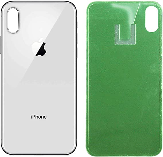 Silver Best OEM Apple iPhone X Replacement Back Glass Cover Back Battery Door w//Pre-Installed Adhesive,Best Version Apple iPhone X All Models Replacement