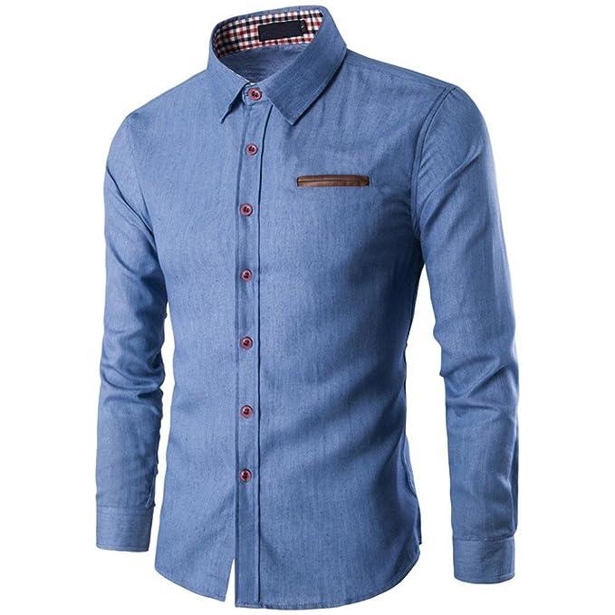 Herren Hemd T-shirt,Dasongff Mode Herrenhemd Tasche Zauber Baumwolle Langarm-Shirt  Jeanshemd