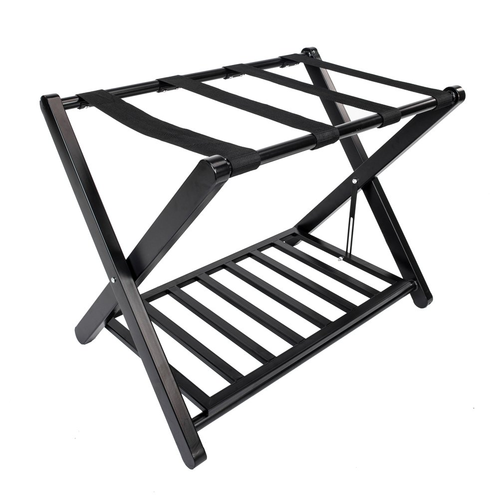 St.CHIU Luggage Rack, Folding Metal Suitcase Stand Bag Storage Shelf Holder with Nylon Belt for Travel Home Guestroom Bedroom Hotel (Style E)