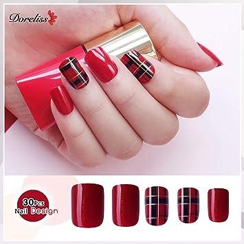 Doreliss uñas postizas 30 Pcs Consejos corto uñas falsas de Pegamento adhesivo de doble cara Glitter Red Plaid