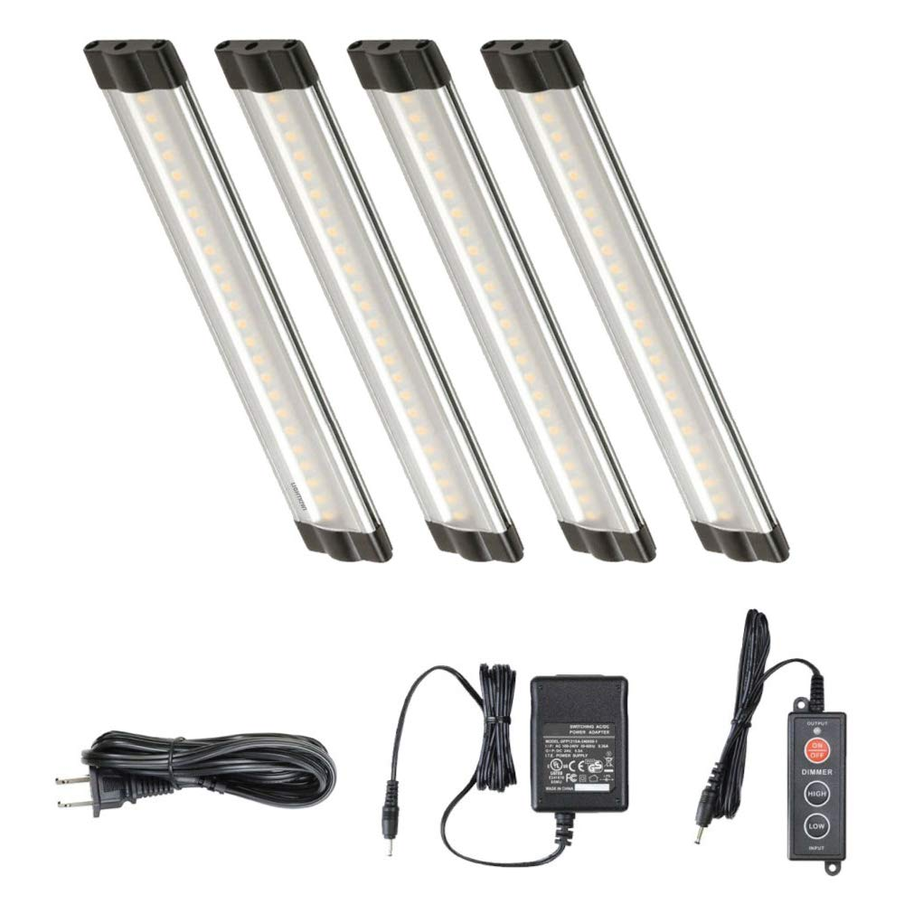Lightkiwi Dimmable LED Under Cabinet Lighting 4 Panel Kit, 6 Inches Each, Warm White (3000K), 7.2 Watt, 24VDC, Dimmer Switch & All Accessories Included, Low Profile, Sturdy Aluminum Body, UL Listed