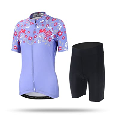 Womens Spring Bird Bicycle Purple Cycling Jersey Shirts With 3D Padded  Shorts S e1babadcb