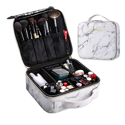 HOYOFO Travel Makeup Train Case with Adjustable Dividers White Marble  Makeup Organizer Bag Portable Cosmetic Storage Cases with Brush Holders,  White