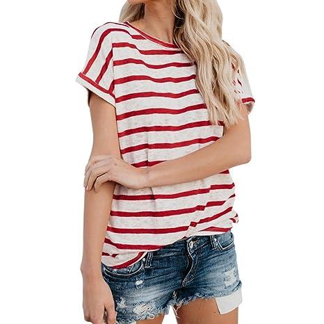 LuckyGirls Camisetas Mujer Originales Manga Corta Rayas Casual Remeras Blusas Camisas (S, Rojo)