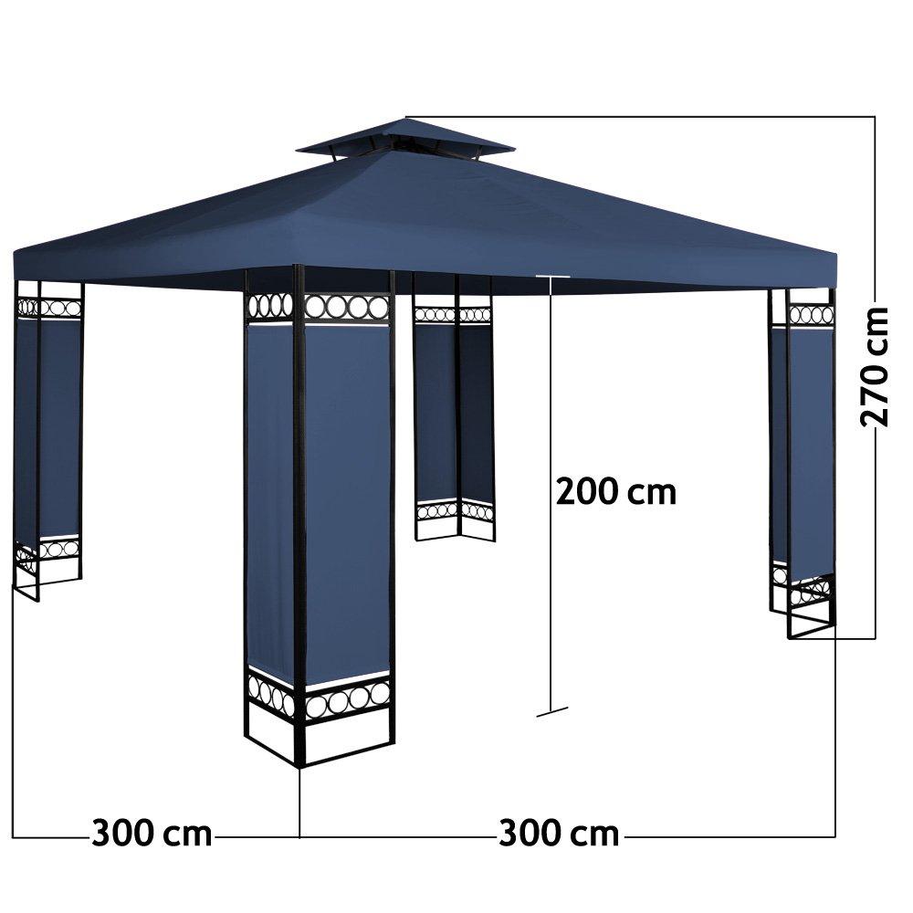 Amazon.de: Deuba® Pavillon 3x3m blau | 9m² | wasserabweisend ...