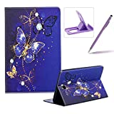 Wallet Leather Case for Samsung Galaxy Tab A 8.0 T350,Flip Kickstand Case for Samsung Galaxy Tab A 8.0 T350,Herzzer Stylish Pretty [Purple Butterfly Pattern] PU Leather Purse Folio Smart Stand Cover with Card Cash Slot Soft TPU Inner Case Protective Skin