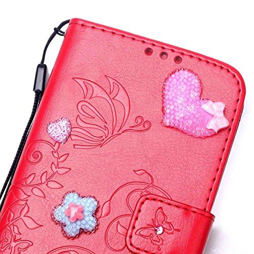 JIALUN-Personality teléfono shell Carcasa MINI Samsung Galaxy S5, estuche de cuero PU con estampado de flores en lado único para Samsung Galaxy S5 MINI Seguridad y Moda ( Color : Brown , Size : Samsun Red