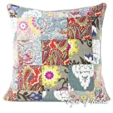 Eyes of India - 20'' Grey Gray Kantha Colorful Decorative Sofa Throw Couch Pillow Cover Cushion Bohemian Boho IndianCover Only