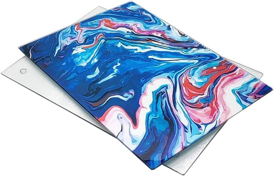 U HOME Glass Cutting Board 16 x 12 inch Set of 2, Decorative Square Marble Cutting Board for Kitchen with Tempered Glass Navy Blue and Clear