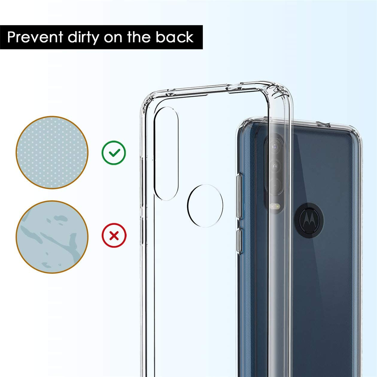 ADroid for Motorola Moto One Action Case,Moto P40 Power Case, Clear Soft Anti-Scratches Transparent Reinforced Corners TPU Shock-Absorption Flexible ...