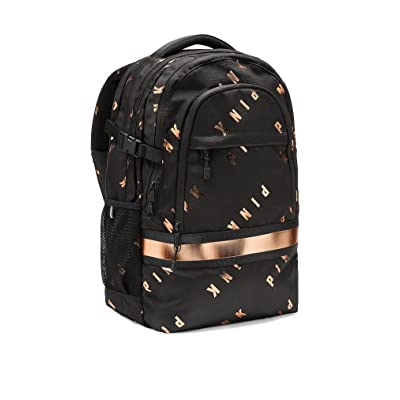 Victoria's Secret Pink Collegiate Backpack School Bag Black Copper Foil: Clothing