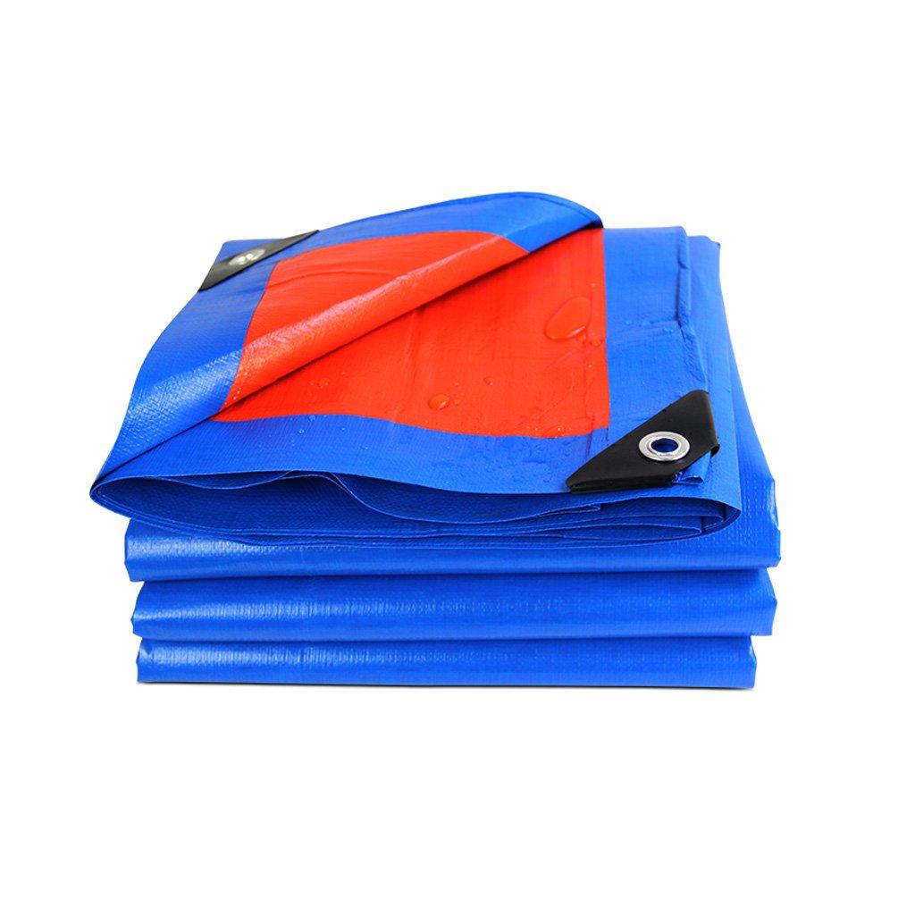 Lonas Paño de lona de plástico Paño de sombra Paño de protección solar Protector solar a prueba de agua, Grosor 0,34 mm, 180 g / m2, 13 Opciones de tamaño, Azul + Naranja, Nota: Solo 1 se puede compra CGF- Lonas
