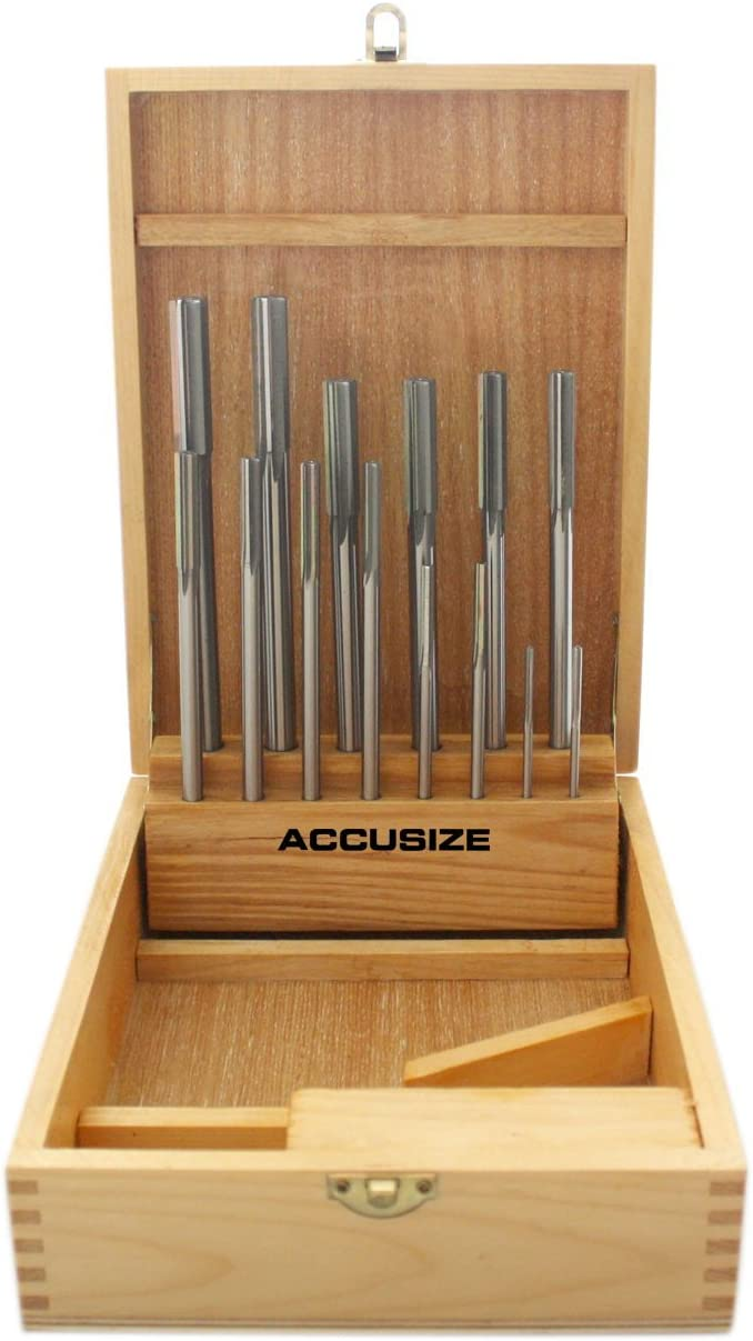 Accusize Industrial Tools 14 Pc Over and Under Size H.S.S. Chucking Reamer Set, 0.1240'' thru 0.5010'', in Fitted Case, 5500-SX00