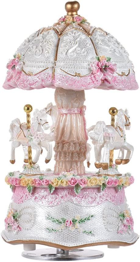ammoon 3-Horse Rotating Carousel Merry-go-round Windup Music Box Castle in the Sky