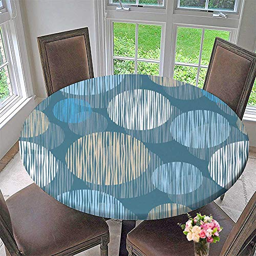 PINAFORE HOME Round Fitted Tablecloth Vector Background with Decorative Circles Print Cloth Design Wallpaper for All Occasions 47.5