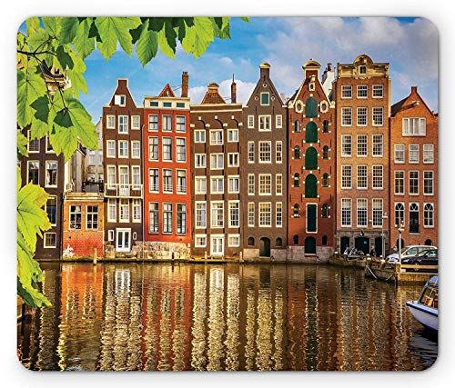 European Mouse Pad, Old Buildings in Amsterdam Nothern Fairy Cultural Nertherlands City with River, Standard Size Rectangle Non-Slip Rubber Mousepad, Multicolor,8.66 x 7.08 x 0.118 -