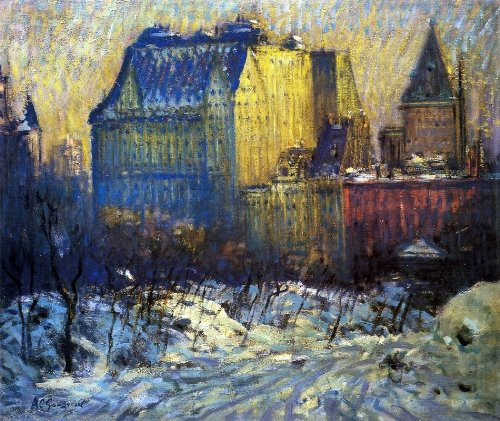 Arthur Clifton Goodwin View of the Plaza from Central Park in Winter - 20.05