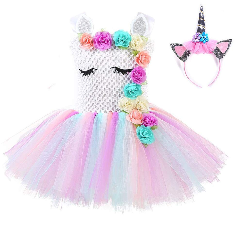 73b395af29b4a Unicorn Tutu Dress for Girls Birthday Party Dress Handmade Pastel Unicorn  Costume Outfit with Headband