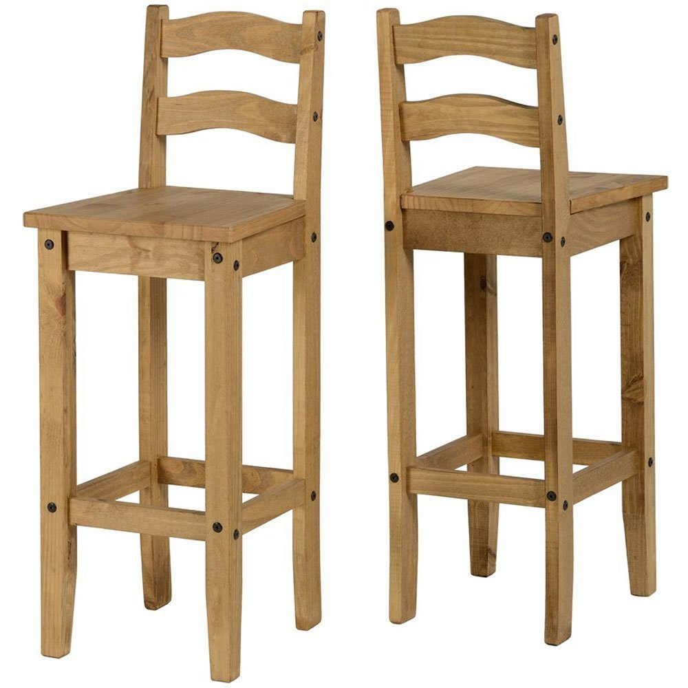 Kelsey Stores Corona Pair Breakfast Bar Chairs-Distressed Mexican Pine hlf